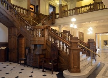 Visitors to Boldt Castle can tour the castle and its grounds. This is the castle's grand staircase.