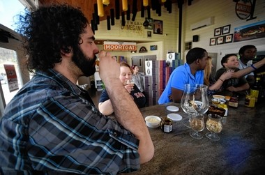 Beer tasting at Ommegang Brewery near Cooperstown, NY.