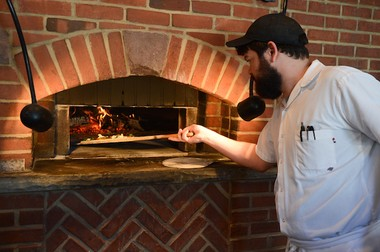 The wood-fired pizza oven at Elm Street Bakery in East Aurora, New York.
