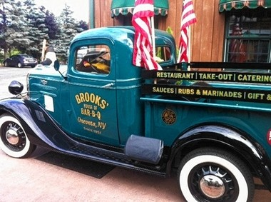 Brooks' House of BBQ in Oneonta is home to a Chevy pick-up truck once owned by Frank Sinatra.