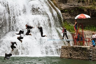 Ithaca Mayor Svante Myrick jumps into a gorge at the Robert H. Treman State Park on Saturday, June, 21, 2014. Myrick agreed to the stunt if people donated at least $2,500 to a hunger program for the United Way of Tompkins County.