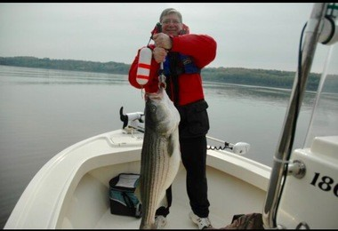 Jack Moses with his lunker striper that he caught in 2009.