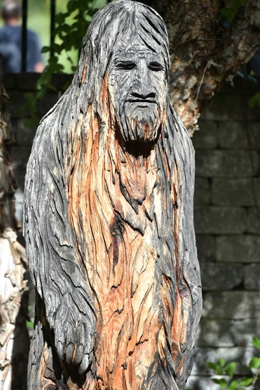 A wood carving of Sasquatch in Whitehall.