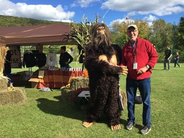 A volunteer at the festival dressed as a Sasquatch posed for pictures all day at the festival. Here he's pictured with NYup.com outdoors writer David Figura.