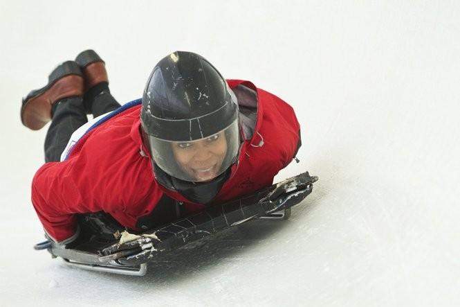 A person taking a skeleton ride at Mt. Van Hoevenberg in Lake Placid, N.Y.