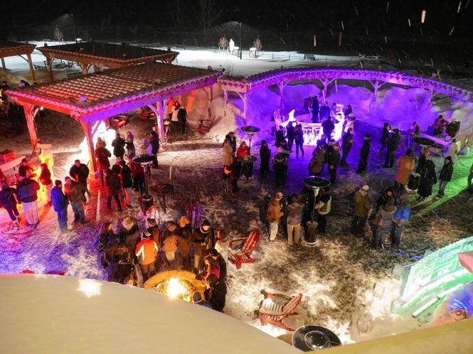 """Ice bar at the """"Fire & Ice"""" extravaganza at the 1000 Islands Harbor Hotel in Clayton, NY."""