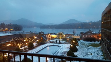Views of Mirror Lake are found in most rooms at High Peaks Resort in Lake Placid.