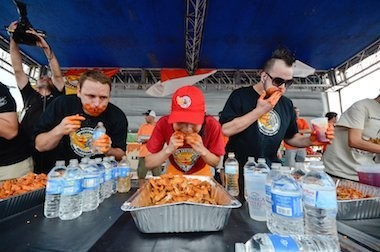 One of National Buffalo Wing Festival's eating contest in 2014.