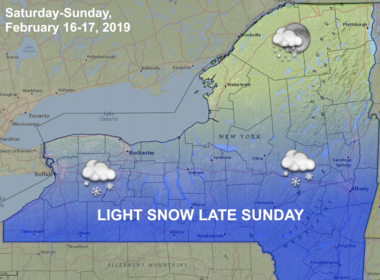 Light snow will be possible late Sunday, mostly to the south of I-90. Accumulations should not be more than 1-2 inches.