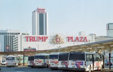Buses line up outside the Trump Plaza in Atlantic City. The number of casino buses and passengers headed to Atlantic City has dropped for the past 24 months