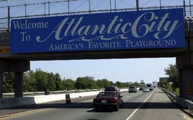 A sign on the Atlantic City Expressway welcomes visitors.