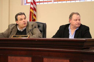 Hammonton Mayor Steve DiDonato and Folsom Mayor Louis DeStefano protest a perceived poaching of South Jersey Gas jobs from Folsom to Atlantic City during a special meeting on Thursday, March 3, 2016. (Don E. Woods | For NJ.com)