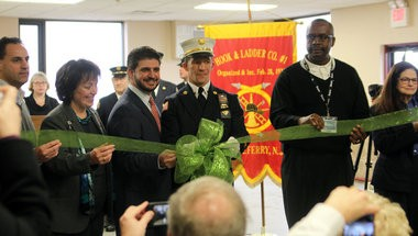 Officials cut the ribbon at the newly-renovated Little Ferry Hook & Ladder Company on Wednesday, Feb. 27, 2012.