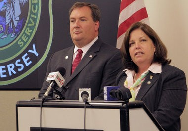 Freeholder Maura DeNicola speaks to reporters at the Bergen County Law & Public Safety Institute in Mahwah on August 9, 2012.