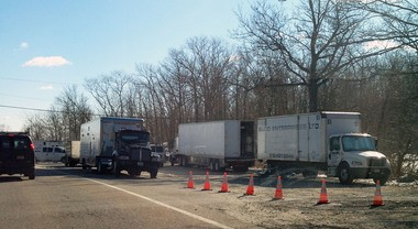 Large trailers and film production equipment backed up traffic on Skyline Drive near the border of Oakland and Ringwood.