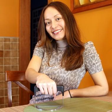 Hipatia Lopez, inventor of the empanada fork, in her Elmwood Park home, Feb. 21, 2013.
