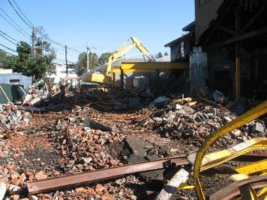 This EPA image shows demolition at the Garfield Superfund site during the fall of 2012.