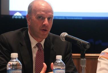 Bergen County Prosecutor John L. Molinelli speaks at a recent school safety forum at Paramus High School.