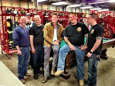 """Ty Pennington posted this photo from his visit to the Moonachie Fire Department on his Facebook page. He wrote: """"The Moonachie Fire Department is awesome. Check out this link http://bit.ly/17kXAyw and help the guys get back on their feet."""""""