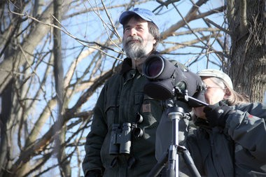 Don Torino and Denise Farrell of the Bergen Audubon society watch for bald eagles on the banks of Overpeck Creek.