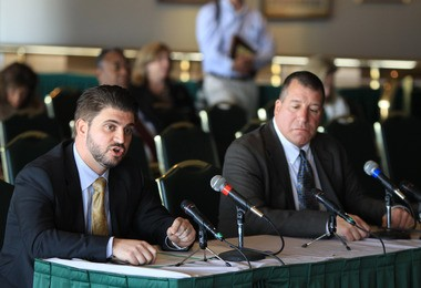 Little Ferry Mayor Mauro Raguseo and Moonachie Mayor Dennis Vaccaro testify during a hearing of the Senate Budget and Appropriations Committee at the Meadowlands Racetrack in East Rutherford in December.