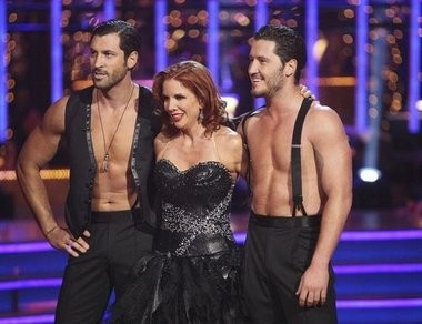 "Brothers Val and Maksim Chmerkovskiy appear with ""Dancing with the Stars"" contestant Melissa Gilbert during the 2012 season."