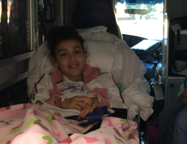 Juliana Valdez, shown her in an ambulance after her foot was caught in a Garden State Plaza escalator in August.