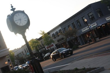 The clock in Van Neste Square, Ridgewood, NJ.