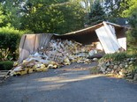The crash and iced tea cleanup kept Cedar Hill Ave. closed for five hours. (Wyckoff Police Department)
