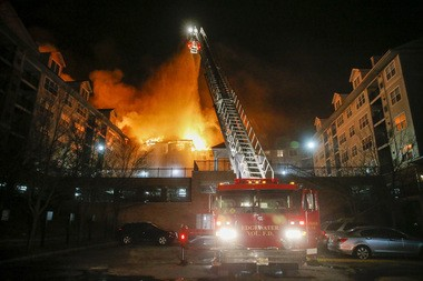 Several area departments responded to a five-alarm fire at 102 Russell Avenue in Edgewater, NJ 1/21/15