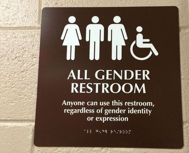 A file photo of an all-gender restroom on Rowan University's campus.