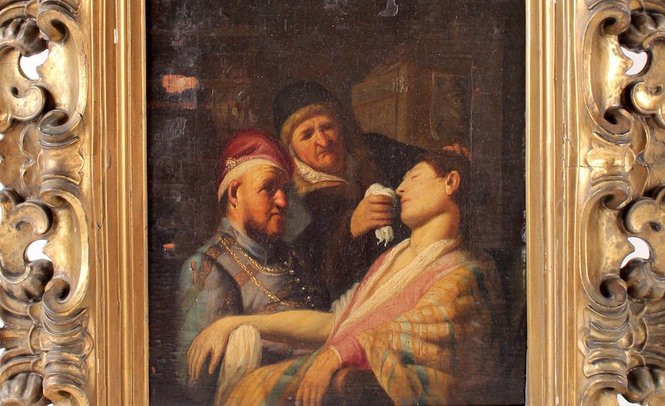 """""""The Unconscious Patient (An Allegory of the Sense of Smell)"""" is was one of five in a series painted by Rembrandt as a teenager."""