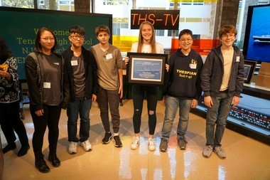 """Tenafly High School students Alia Munn, Hojoon Kim, Yoav Dekel, Maria Parotkina, Louis Spencer and James Lev won first place in the William Francis Gibbs """"Made in the USA"""" Interscholastic Engineering and Design Competition."""