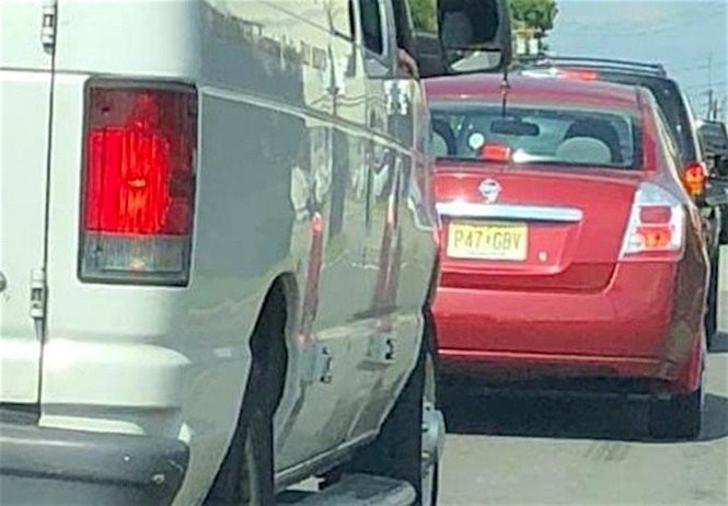 A motorist snapped this photo of a car on Industrial Avenue in Teterboro moments after Boston Terrier was dumped on the side of the road, authorities allege. (Bergen County SPCA)
