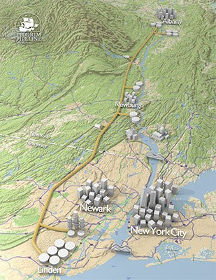A 3D map of a possible oil pipeline route to bring crude oil shipped to Albany, N.Y. to the Phillips 66 refinery in Linden, NJ. Pilgrim Pipeline officials say the pipeline would reduce the number of barges in the Hudson River, though environmentalists are still concerned about any impact to the Highlands.