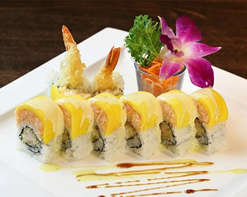 The menu at Aki Asian House features a selection of rolls.