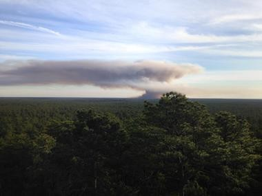 A view of the smoke from atop a fire tower at Apple Pie Hill in Chatsworth.