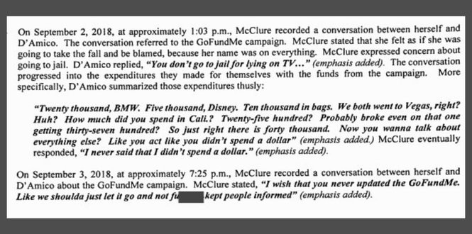 An excerpt from the affidavit of probable cause filed against D'Amico, McClure and Bobbitt.