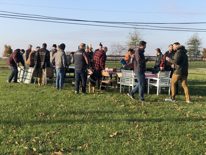 Friends set up tables and chairs to eat turkey bowls at Wawa in Columbus, N.J. every Thanksgiving. (Photo provided)