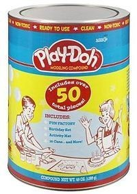 Play-Doh was originally marketed in this canister in the 1950s. Courtesy of therapyfunzone.net