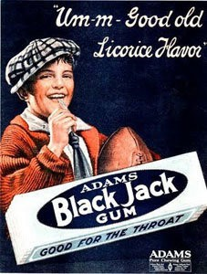 Licorice-flavored Black Jack gum first hit the market in 1884. Courtesy of oldtimecandy.com