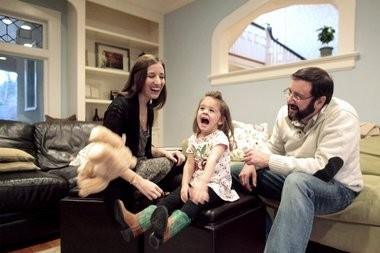 Samantha and James Cordon play with 2-year-old daughter Madelyn in their new Glen Ridge home. The Cordons said they knew they needed to move when Madelyn started walking. âIt was a space issue,â James Cordon said.