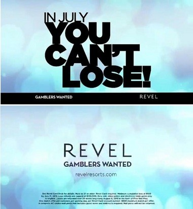 Screen captures from Revel's ad campaign. The second screen shows the fine print at the end of the ad.