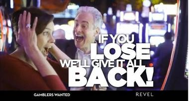A screen capture from Revel's advertisement, in which it says it will refund all slot losses.