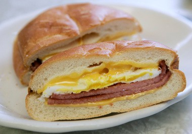 Pork roll on a breakfast sandwich with egg and cheese has long been a standard portable breakfast in New Jersey. Star-Ledger archive photo