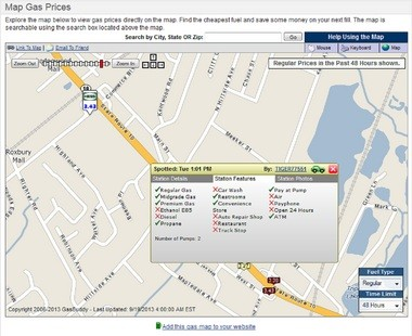 "A screen shot of NewJerseyGasPrices.com, which lists the gas station in question as ""pay at the pump."""