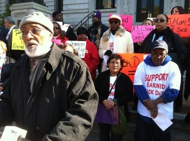 Supporters of paid sick leave marched at Newark City Hall to support the measure in October.