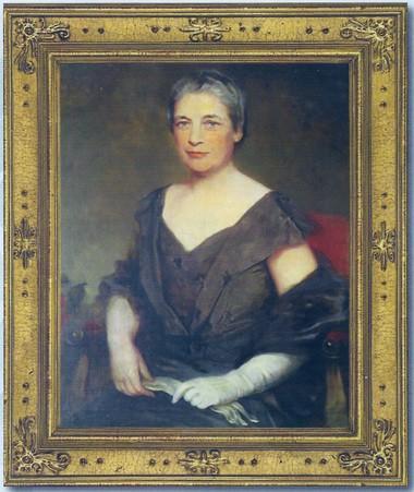 A portrait of Emelyn Battersby Hartridge hangs in the Oakwood Room at The Wardlaw-Hartridge School in Edison. Courtesy of The Wardlaw-Hartridge School