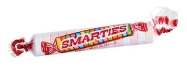 An individual Smarties candy has a diameter of approximately 1 cm; there are 25 calories and 6 grams of sugar in a roll of Smarties.
