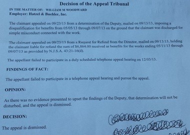 The letter denying Billy Woodward's appeal, which also says he owes less than he was originally told.